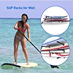"""Easygoproducts egp-surf-006 sup and surf 3 level wall storage for garage or room-paddle board and longboard racks 10 🏄 heavy duty: our sup wall rack was designed using all steel to withstand the weight of heavy paddleboards and long boards creating a more sturdy and durable paddle board storage rack. 🏄 overall protection: each of the 6 arms included of our sup board rack comes equipped with extra thick padding to protect and prevent harm done to your board unlike most paddle board racks. Our steel material is also durable and rust resistant to withstand a salt water environment. 🏄 perfect for many types of boards: unlike a lot of sup racks for wall storage, this paddle board holder can hold up to a 33'' wide board and can hold surfboards, paddleboard, longboards, skis, and some kayaks with a 12"""" spacing in between each arm level."""