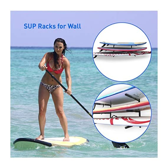 """Easygoproducts egp-surf-006 sup and surf 3 level wall storage for garage or room-paddle board and longboard racks 2 🏄 heavy duty: our sup wall rack was designed using all steel to withstand the weight of heavy paddleboards and long boards creating a more sturdy and durable paddle board storage rack. 🏄 overall protection: each of the 6 arms included of our sup board rack comes equipped with extra thick padding to protect and prevent harm done to your board unlike most paddle board racks. Our steel material is also durable and rust resistant to withstand a salt water environment. 🏄 perfect for many types of boards: unlike a lot of sup racks for wall storage, this paddle board holder can hold up to a 33'' wide board and can hold surfboards, paddleboard, longboards, skis, and some kayaks with a 12"""" spacing in between each arm level."""
