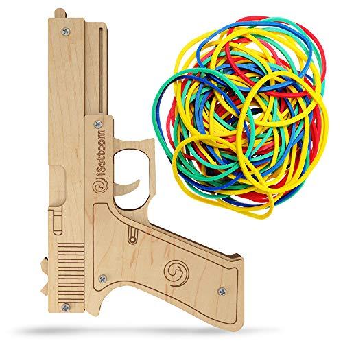 iSottcom Pistola de goma – Pistola de madera para interior y exterior – Juego de rol – Regalo divertido – Regalo para hombres – Carnaval – Cowboy – Party Gag