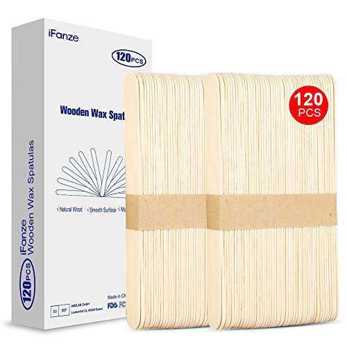 ifanze 120 Pièces Spatules, Spatules pour Cire Chaude, Bâtons de Cire Applicateur de Bâtons en bois Craft, Spatules Applicateur de Cire en Taille 150 x 17 x 1.5 mm