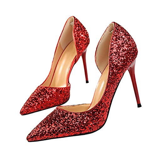 "Pointed High Heel Shoes Fashion Dress Pumps Bridal Wedding Party Glitter Pump 3.5"" Red"