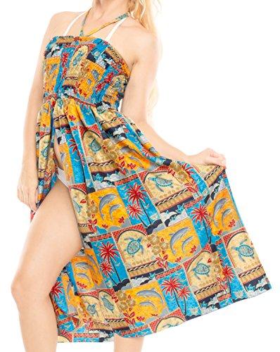 LA LEELA Playa Vestido Impreso Tubo Corto de Las Mujeres Nadar Rangoli