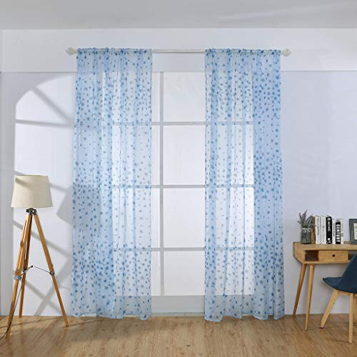 Floral Sheer Window Curtain, Tuscom Tulle Voile Window Curtain Drapes Elegant Sheer Swags Valances Tiers Draperies Scarf Door Curtain Panels for Living Room, 78.7