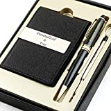 Free Engraving - Personalized Groomsmen Gift, Roller Ballpen, Ballpoint pen, Ball pen, Refillable Pen, Refill pen, Leather Money Clips, Card Holder, Three Lines Each 20 Characters (Black)