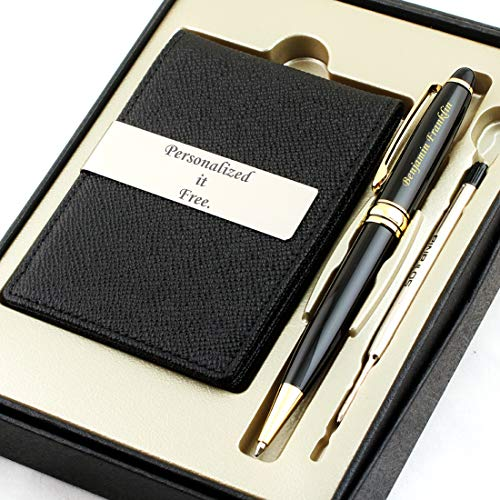 Price comparison product image Free Engraving - Personalized Groomsmen Gift,  Roller Ballpen,  Ballpoint pen,  Ball pen,  Refillable Pen,  Refill pen,  Leather Money Clips,  Card Holder,  Three Lines Each 20 Characters (Black)