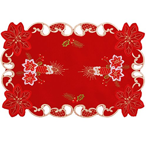 Grelucgo Embroidered Christmas Holiday Dining Table Placemats Set of 6 (12x18 inch)