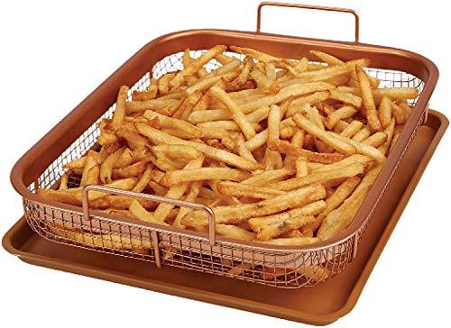Mantraraj Kupfer Crisper Tray Antihaft Ofen Backblech mit erhöhter Gitterpfanne Air Fryer Crisping Grill Korb 2-teiliges Set Perfekt für Pommes, Huhn, Pizza, Fisch, Brot, Zwiebelringe, Kekse