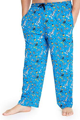 Looney Tunes Pantalon Pijama Hombre, Pantalon Pijama Hombre Invierno Algodon 100% con Personajes Bugs Bunny y Pato Lucas, Regalos Originales para Hombre (Azul, XXL)