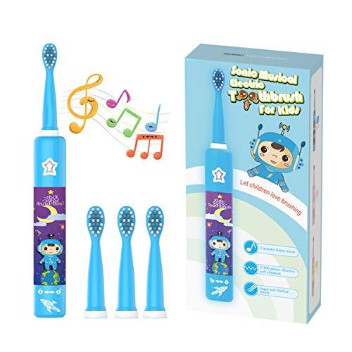 Musikalische Elektrische Zahnbürste für Kinder, Wiederaufladbare Intelligent Karikatur Zahnbürste für Kinder Alter 3-12 mit 2 Minuten Timer,3 Modi, 4 Bürstenköpfe(Blauer Astronaut)