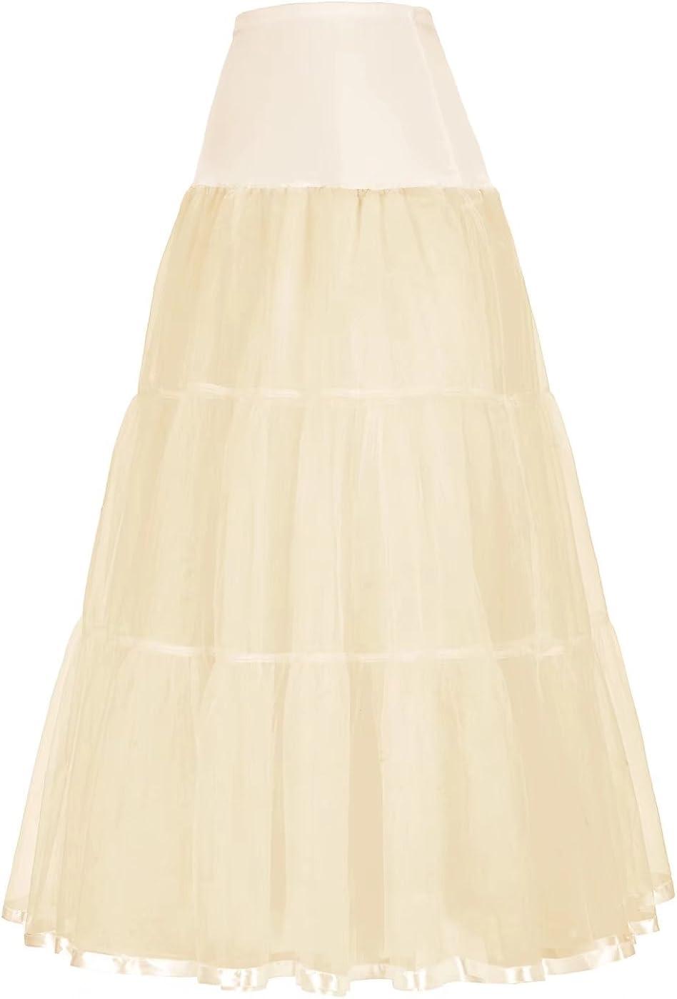 GRACE KARIN Women's Ankle Length Petticoats Wedding Slips Plus Size S-3X