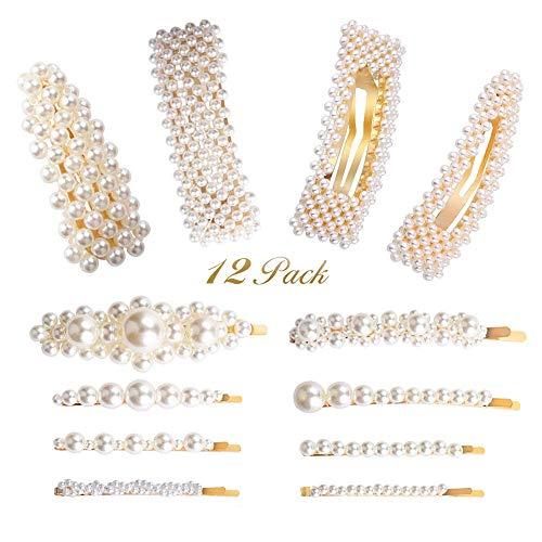 Perlen Haarspange für Damen Mädchen Frauen Braut, 12pcs Perlen Spangen/ Haarspangen/Haarklammern / Haarnadel für Abschlussball Hochzeit Party, Elegante Perlenspangen Metall Haarschmuck, Weiß/Gold