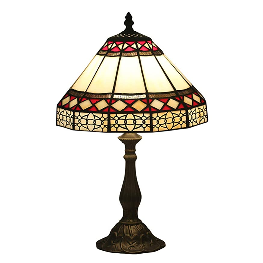 WMING 8 inch Tiffany Style Table lamp Baroque Table lamp European Style Simple Table lamp Retro Creative Bedroom Bedside Table Decoration Table lamp Color Glass lampshade E27
