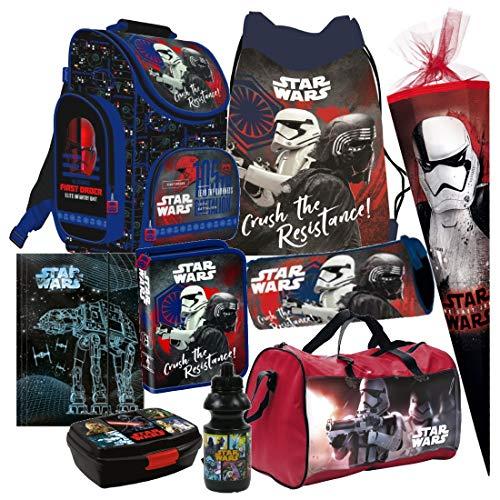 Star Wars 9 TLG. Schulranzen RANZEN Episode 7 SCHULTÜTE 85 cm Rucksack Tasche Set + Sticker von Kids4shop