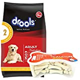 Drools Chicken and Egg Adult Dog Food, 3 kg with FREE 300 gm Bone (20 pieces)