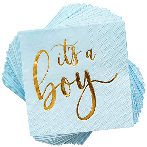 It's a Boy Baby Shower Party Supplies, Cocktail Napkins (5 x 5 In, Blue, 50-Pack)