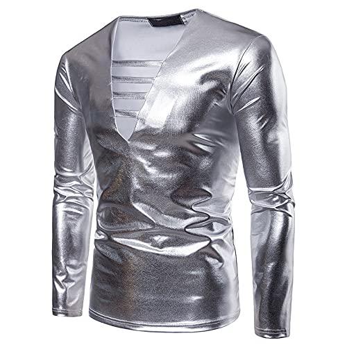 CFWL Camiseta De Manga Larga con Cuello En V para Hombre, Estilo De Primavera Y OtoñO, DiseñO De Cuerpo Bronceado De Color SóLido para Hombre Suave CóModo Transpirable Check Shirt Plata XL