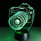 VELAN 3D Lamp Camera Gift Acrylic Table Night Light Furniture Decorative Colorful 7 Color Change Household Home Desk Accessories