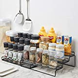 Spice Rack Organizer for Cabinet,3-Tier Adjustable Kitchen Seasoning Storage Step Shelf for Counter & Pantry,with Protection Railing