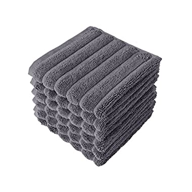 Classic Turkish Towels 6 Piece Luxury Washcloth Towel Set - 13 x 13 Inch Soft and Thick Large Bath Towel Washcloths Made with 100% Turkish Cotton (Grey)