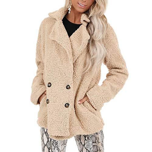 QingJiu Damen Plüsch Strickjacke Mantel Kunstpelz Reine Farbe Tasche Lose Jacke Fuzzy Warme Winter Revers Outwear