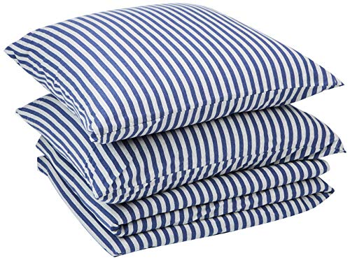 AmazonBasics - Bettwäsche-Set, Jersey, gestreift, 240 x 220 cm / 80 x 80 cm, Marineblau