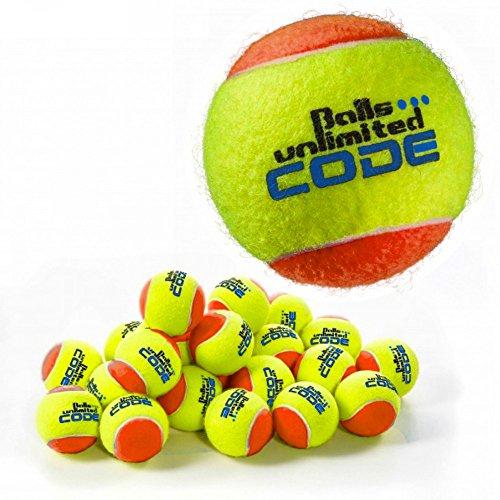 Balls ... unlimited Code Blue Tennisball, Drucklose Trainingsbälle - 60er Beutel - gelb/orange