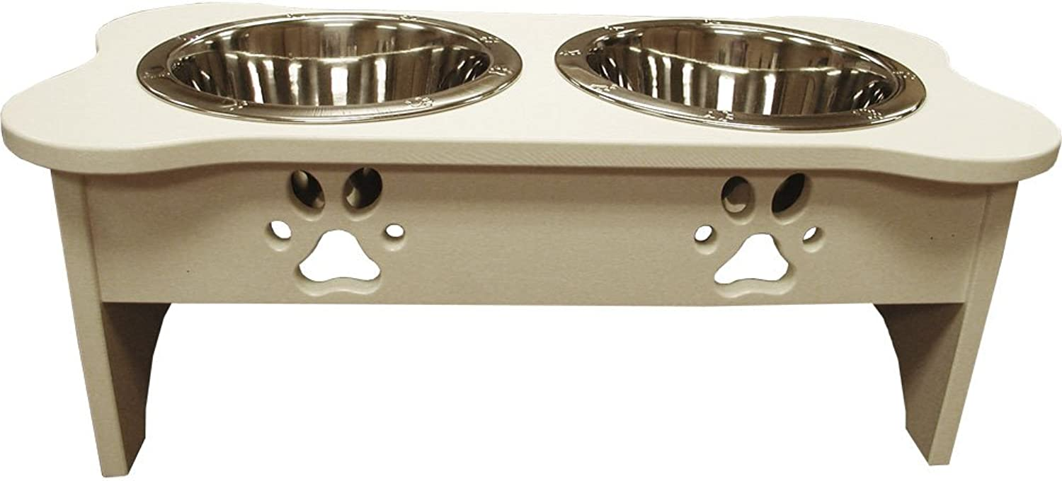 Feeders 90013 Indipets 2 Quart 8.75Inch High with Two Wide Rim Bowls White