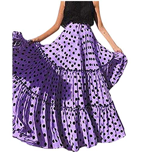 Vectry Moda Mujer Cintura Alta Lunares Falda Estampada Falda Plisada con Volantes Sueltos