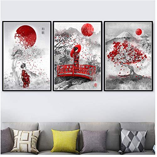 Zen Zen japonés Bushido Samurai Kanji Art Pintura al óleo Impresiones de Carteles Lienzo Cuadros de Pared para Sala de Estar Decoración del hogar -50x75cm3 Sin Marco