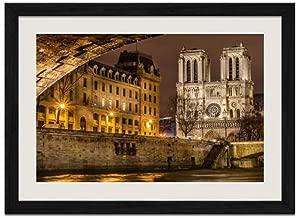 Notre Dame de Paris Front View - Art Print Wall Black Wood Grain Framed Picture(20x14inch)