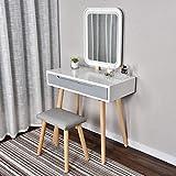 ARTETHYS Tocador Blanco con Luz LED, Brillo Ajustable, Espejo, Mesa de...