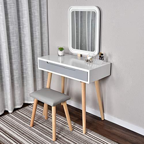 Modern Weiß Schminktisch mit LED-Beleuchtung, Kosmetiktisch mit gepolstertem Hocker,Frisiertisch Spiegel Schublade Kommode,Make-up Tisch,Schlafzimme und Wohnzimmer Verstellbare Helligkeit(Rechteck)