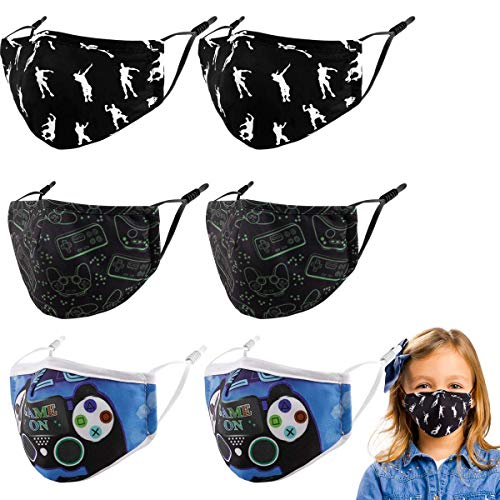 Kids Washable Reusable Face Cover, 6 Pcs Toddler Cotton Cloth Fabric Protection Adjustable Lightweight Protective Mask Game cubre Bocas para niños,Gifts for Girls Boys Children