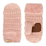 C.C Various Kinds Of Color Ribbed Knit Children Mitten(MT-25 KIDS) (Indi Pink -Knit)