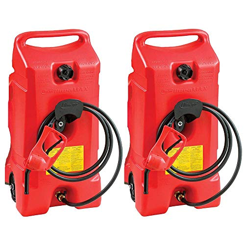 Scepter Flo N Go Duramax 14 Gallon Portable On-Wheels Gas Fuel Tank Container with LE Fluid Transfer Siphon Pump and 10-Foot Long Hose (2 Pack)