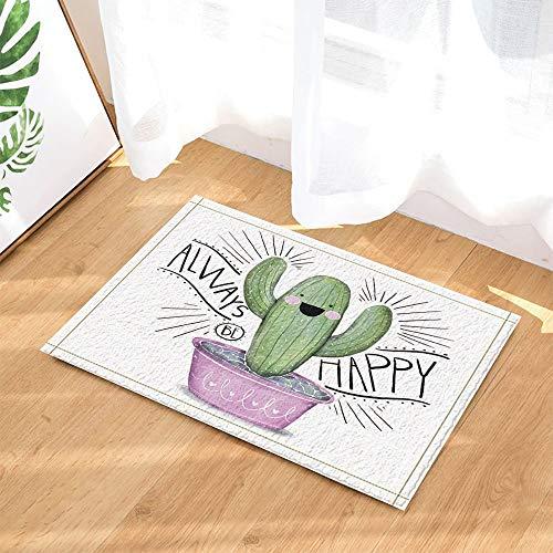 SRJ2018 Decoración Vegetal de Navidad Cactus suculento Lindo para alfombras de baño Felpudo Antideslizante 60X40CM Interior
