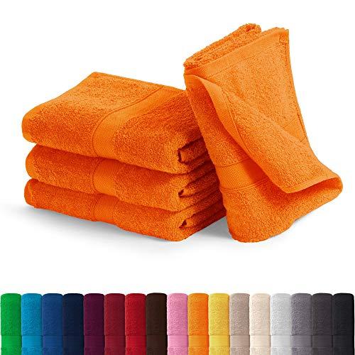 EllaTex Handtuch-Set aus Serie Paris 0040089 100{88e4a82964cc49fd596cb5cb04f2e97fc70748f5e4f77176d40aff6b2fc8449c} Baumwolle 500 Gramm/m², Farbe:Orange, Größe:4er Packung 30 x 50cm - Gästehandtücher