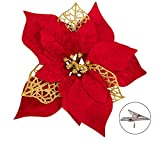 15 Pieces Poinsettia Artificial Christmas Flowers Decorations Xmas Tree Ornaments Red Glitter Gold with Clips
