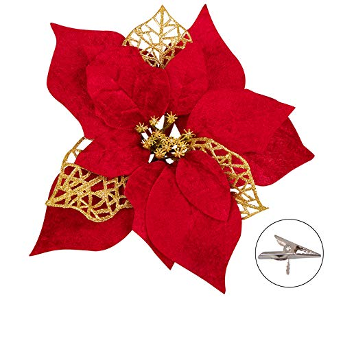 15 PCS Poinsettia Artificial Christmas Flowers Decorations Xmas Tree Ornaments Red Glitter Gold with Clips
