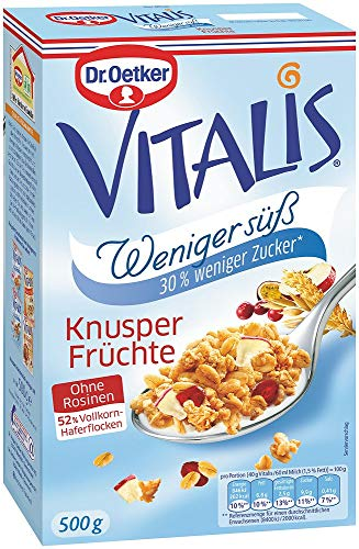 Dr. Oetker Vitalis Weniger Süß Knusper Frucht, Knuspermüsli mit Cranberries und Apfelscheiben, 6er Packung (6 x 500g)