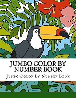 Jumbo Color By Number Book: Cats, Fruit, Flowers, Butterflies, Birds & More Animal Easy Designs (Best Colors Numbers Coloring Book) (Volume 2)