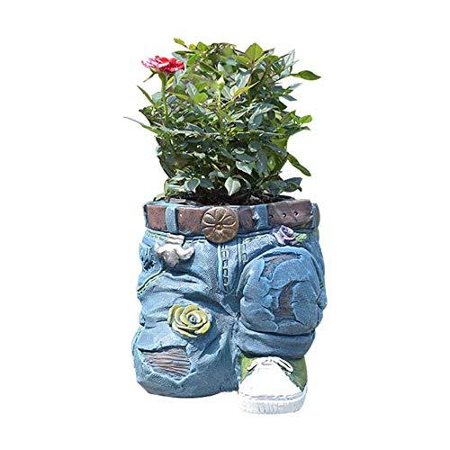 Kasituoer Decoración de jardín de macetas de Jeans Azules, decoración Creativa de macetas de Jeans de Resina, Adecuado para césped de balcón de jardín Interior y Exterior (Azul, A)