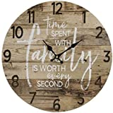 JB Products Shop Farmhouse Style Rustic Wall Clock, Brown Wood Design with Saying: Time Spent with Family is Worth Every Second 13' Diameter. Beautiful Addition to Any Room!