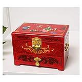 Caja de joyería Joyería Antigua Caja de joyería de Madera orientales Caja de Almacenamiento Caja de Laca roja con Espejo...
