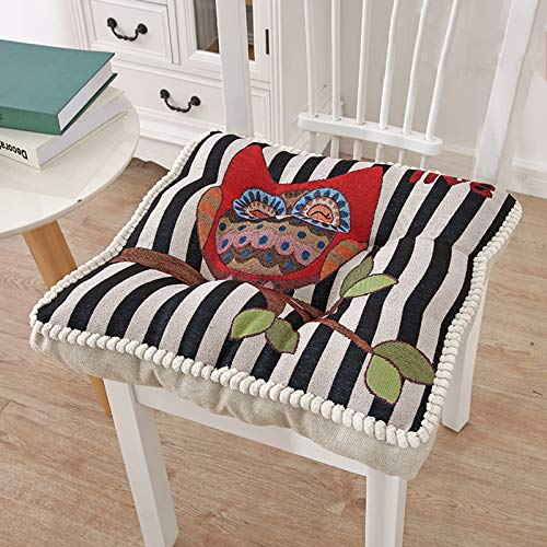 SILUQ Square Super Seat Chusion, Cotton Linen Embroidered Flowers Comfortable Breathable Office Lounge Support Seat Cushion Thicken 10cm(47x47cm Inch Large 47cm H-embroidery