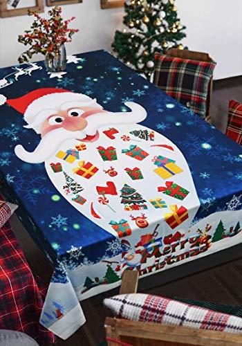 Aitsite Tovaglia di Natale Babbo Alce Rettangolare Decorazioni Natalizie Tovaglie 3D Stampa Digitale (Tovaglia Alce/Babbo Natale, 150x210cm)