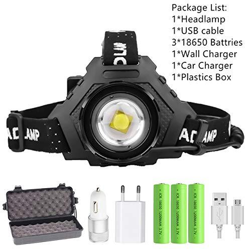 XHP90.2 8000LM LED Phare Puissant 18650 Lumière USB Lampe frontale Zoom Banque de puissance Randonnée en plein air Pêche Lumière Paquet E