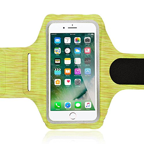 NALIA Fitness Armband Sport Handy-Tasche, Reflektierende Oberarmtasche zum Joggen, Wandern, Radfahren für Smartphones bis zu 5,5 Zoll z.B. iPhone, Samsung, HTC, Sony, Huawei UVM, Farbe:Gelb