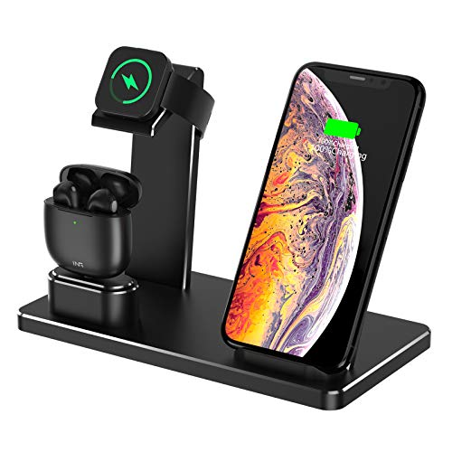Ladegerät Halterung für Apple Watch ,YOMENG 3 in 1 Wireless Qi Schnellladestation Aluminium für iPhone X XS Max XR 8 Plus iPad AirPods iWatch Serie 4/3/2/1 Samsung Note8/S8/S9 Plus