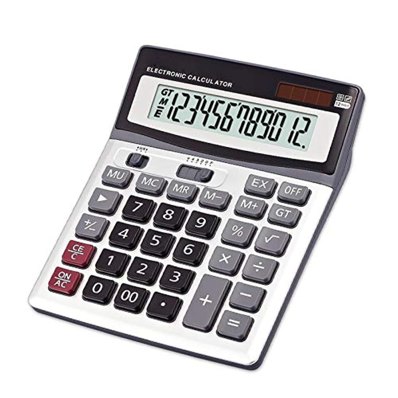 フェードこしょう肉屋電卓 デスクトップ 12桁 標準機能 デュアルパワー 多機能 ビッグボタン オフィスや学生用
